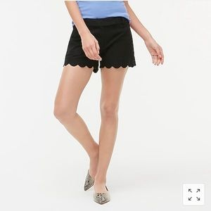 "4"" linen-cotton scalloped hem short"
